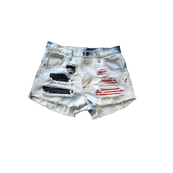 Shredded American Flag Levi Ripped Frayed High Rise Denim USA Shorts-XS