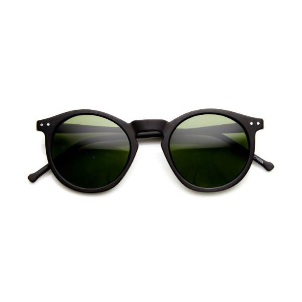 zeroUV - Retro Horned Rim P3 Keyhole Round Horn Rimmed Sunglasses (Matte-Black Green)