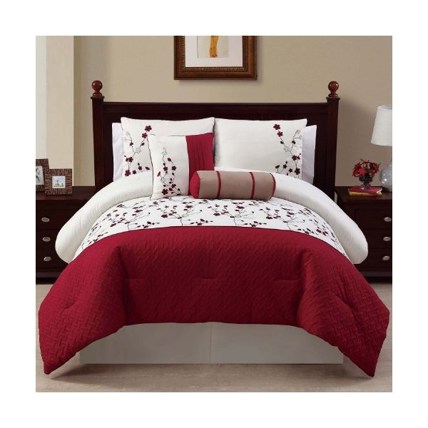 Victoria Classics Sadie 5-Piece Comforter Set, King, Red