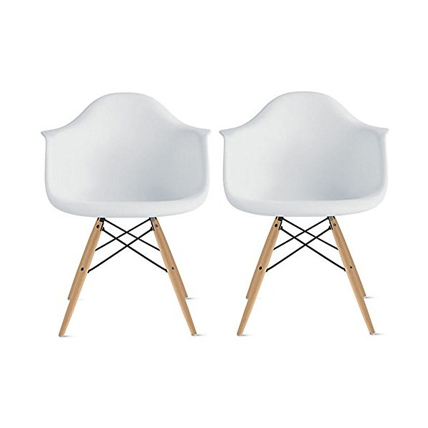 2xhome - Set of Two (2) White - Eames Style Armchair Natural Wood Legs Eiffel Dining Room Chair - Lounge Chair Arm Chair Arms Chairs Seats Wooden Wood Leg Wire Leg Dowel Leg Legged Base Chrome Metal Eifel Molded Plastic
