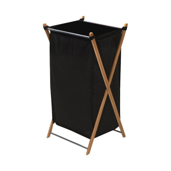 Household Essentials X-Frame Laundry Hamper, Bamboo Frame with Black Canvas Bag