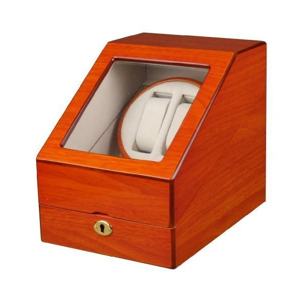 Kendal Double Automatic Wood Watch Winder 3 storages with lock - W2+3oak