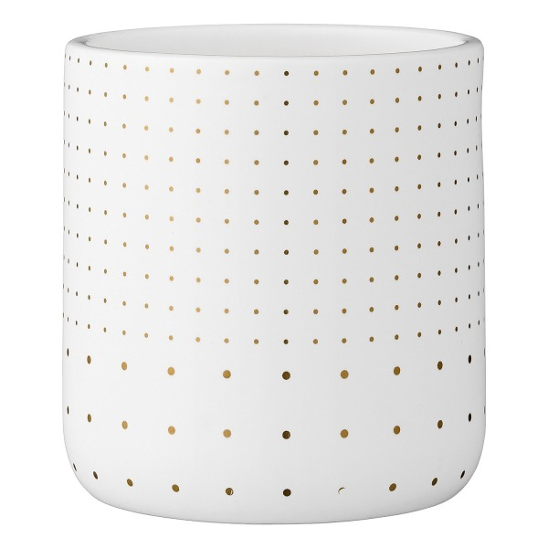 Bloomingville Polka Dot Ceramic Flower Pot, White and Gold