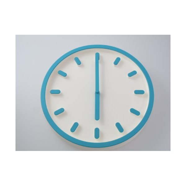 3D Modern Contemporary Solid Color Wall Clock - 12-inch Round Blue Capsules