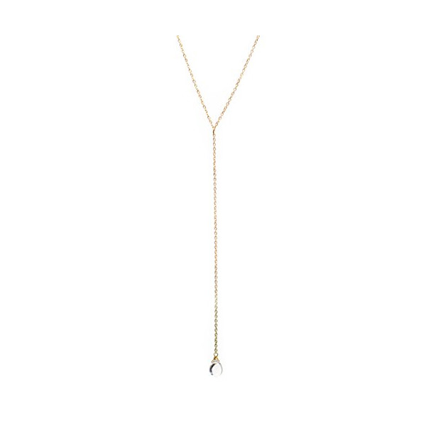 Benevolence 14k Gold Dipped Water Droplet Pendant Y Necklace - Dainty & Hand Wrapped - Trendy & Eco Friendly