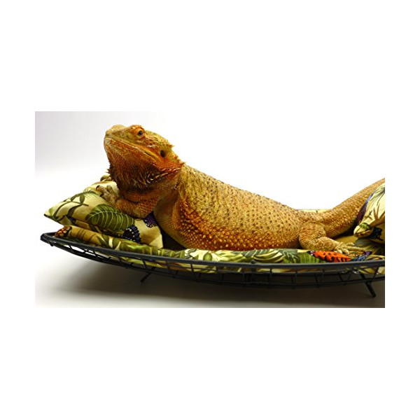 Chaise Lounge for Bearded Dragons, Butterflies and Leaves fabric