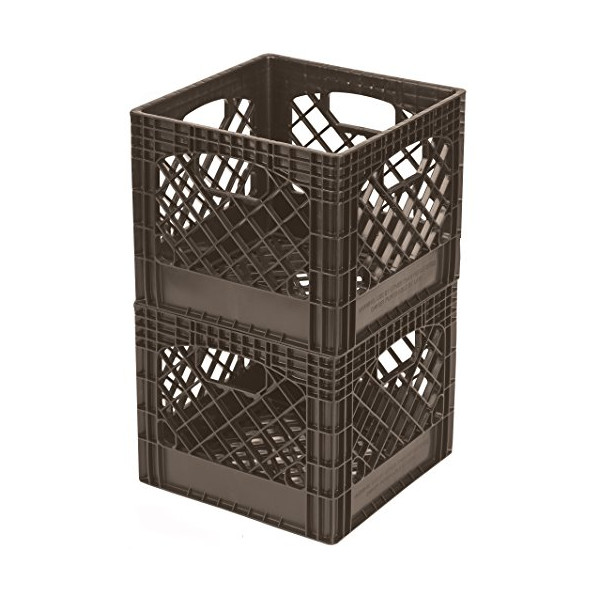 Buddeez MC01016BRN7533 Milk Crates, 16-Quart, Brown, 2-Pack