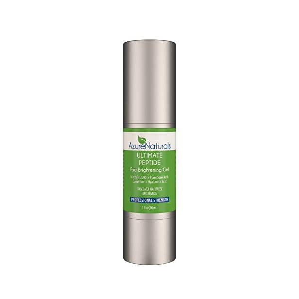 Azure Naturals - Matrixyl 3000 CUCUMBER PEPTIDE Eye Gel - Eye Cream with Plant Stem Cells & Advanced Anti Aging Anti Wrinkle Properties to Address Dark Circles, Puffiness and Wrinkles! 100% Natural!