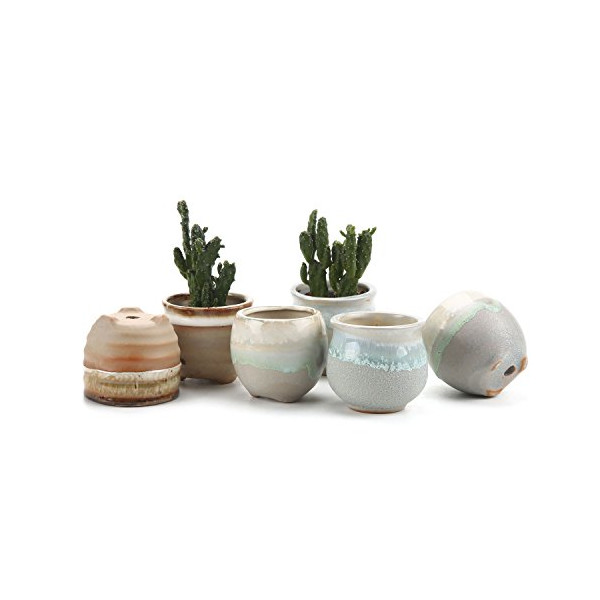 T4U 2.5 Inch Ceramic Flowing glaze solid Gray Base Serial (3 Shape )Set succulent Plant Pot/Cactus Plant Pot Flower Pot/Container/Planter Package 1 Pack of 6
