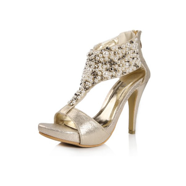 G Antini Lady Cut Out Peep Toe Beads Decor T-strap Platform Embellished Sandals