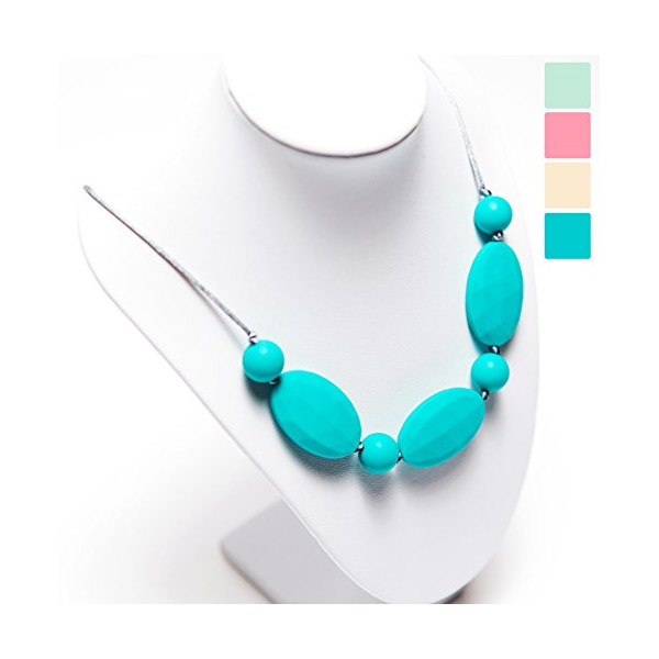 "Silicone Teething Necklace for Mom to Wear by RubyRoo Baby - Baby safe BPA-Free Faceted Beads - ""Ava"", True Turquoise"