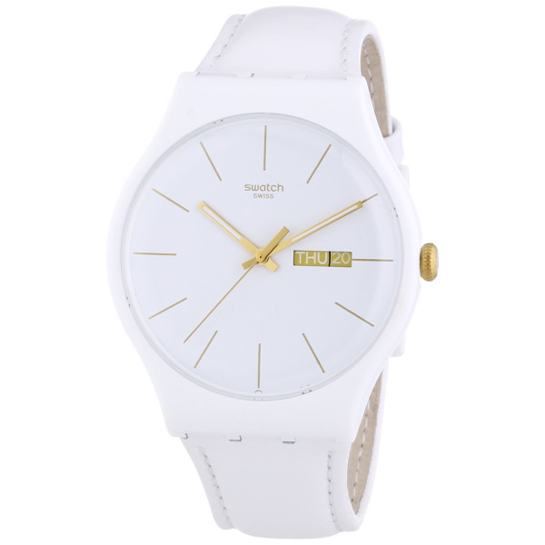 Swatch White Character White Dial White Leather Strap