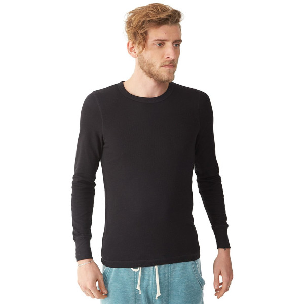 Alternative Men's Basic Thermal Crew T-Shirt, Black