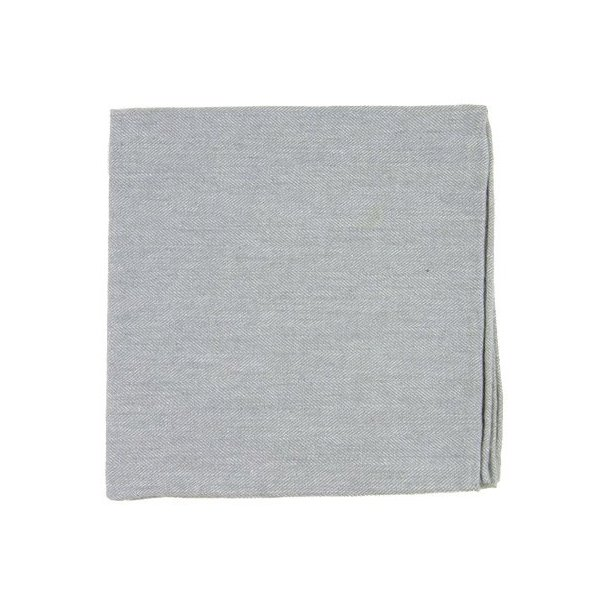 100% Cotton Light Gray Flannel Herringbone Pocket Square