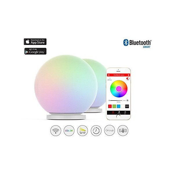 MIPOW PLAYBULB Sphere Bluetooth smart color changing Waterproof Dimmable LED Glass Orb light with APP control, floor Lamp, Night Light, Wireless Charging Solution, Touch to Change Color