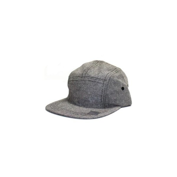 City Hunter Cn150 5 Panel Chambray with Plastic Adjustable Hat Black