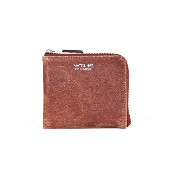 Matt & Nat Bane Wallet, Zip Coin Purse (Vintage Cognac)