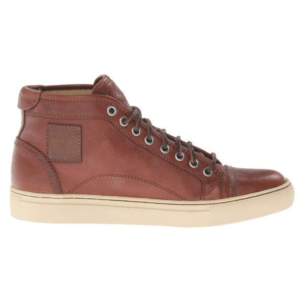 FRYE Men's Justin Mid Pebble Sneaker, Cognac