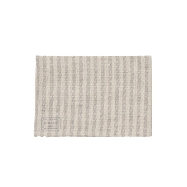 Thick Chambray Linen Kitchen Cloth - Natural Flax/White Stripe