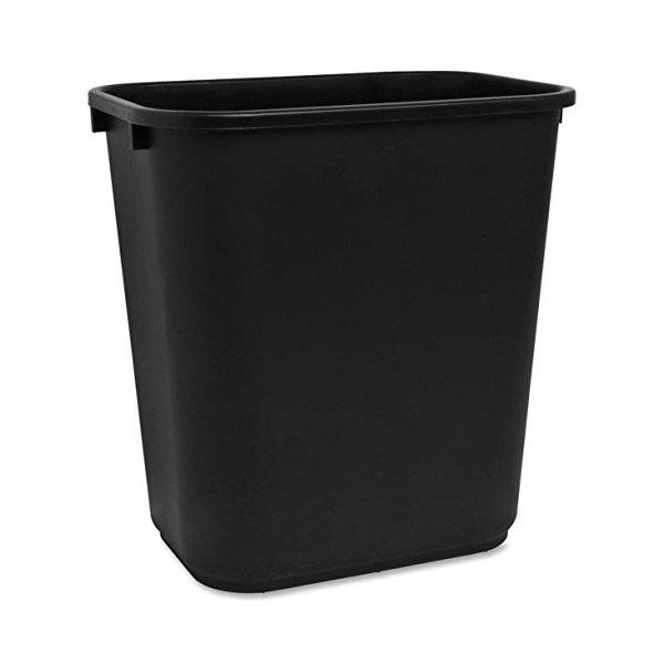 S.P. Richards Company Rectangle Wastebasket, 28 Quart, 14-1/2 x 10-1/2 x 15 Inches, Black (SPR02160)