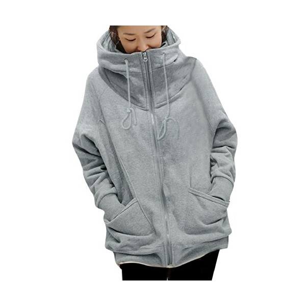 Allegra K 2014 Winter Women Full Zip Hoodie Varsity Hoody Hooded Coat
