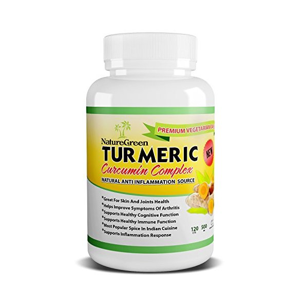 Turmeric Capsules with Curcumin Supplements 500 mg Natural Organic Veggie Supplement - 120Cts