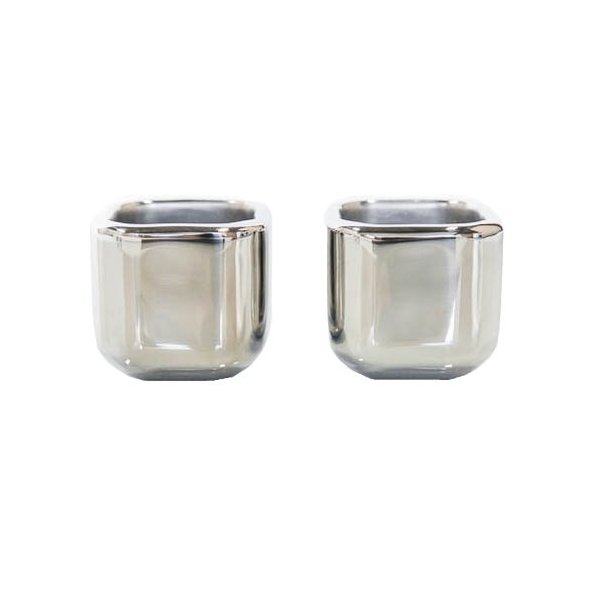 Sparq Cubed Polished Stainless Steel Freezeable Core Shot Glasses - Set of 2