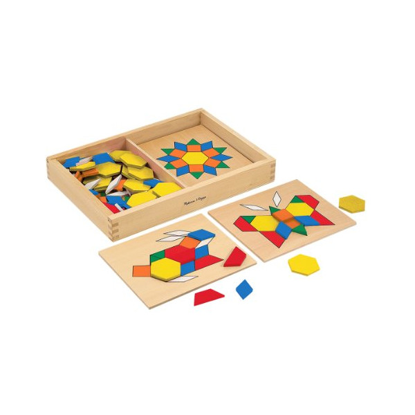Educational Learning Play with 120 Colorful Wooden Geometric Shape Pattern Blocks with Design Boards - Ages 3+
