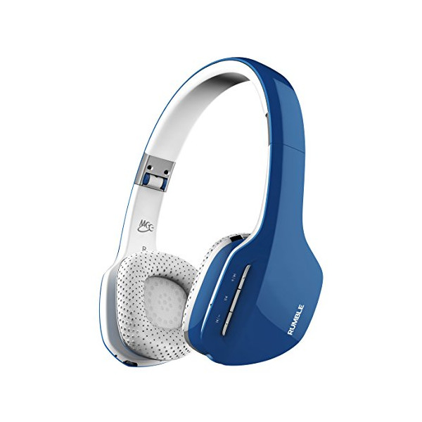 MEElectronics Air-Fi Rumble Enhanced-Bass Bluetooth Wireless Stereo Headphones with Headset Functionality (Blue/White)