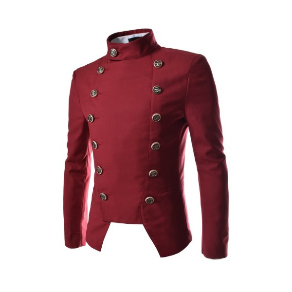 TheLees (NJK4) Mens Casual Double Breasted High neck Slim fit Short Blazer Jacket Red Large(UK Medium)
