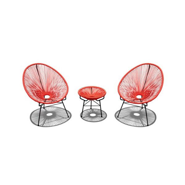 Harmonia Living 3 Piece Acapulco Chat Set in Atomic Tangerine (SKU HL-ACA-3CS-AT)