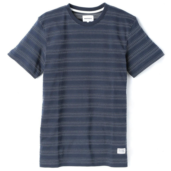 Norse Projects Men's Niels Texture Stripe T-Shirt, Dark Navy