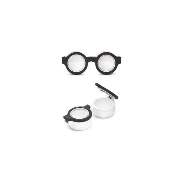 KIKKERLAND Retro Specs Contact Lens Case, Black/White