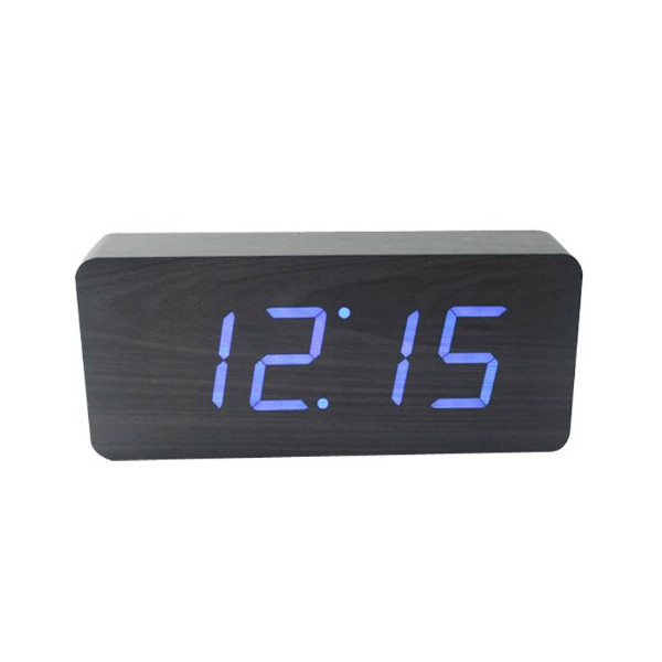 Rectangular Wooden Alarm Clock, Blue LED, Voice and Touch Activated