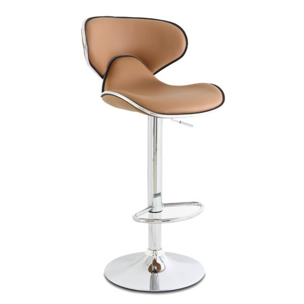 Adeco Curved Light Coffee Color Adjustable Barstool Chairs (Set of 2)