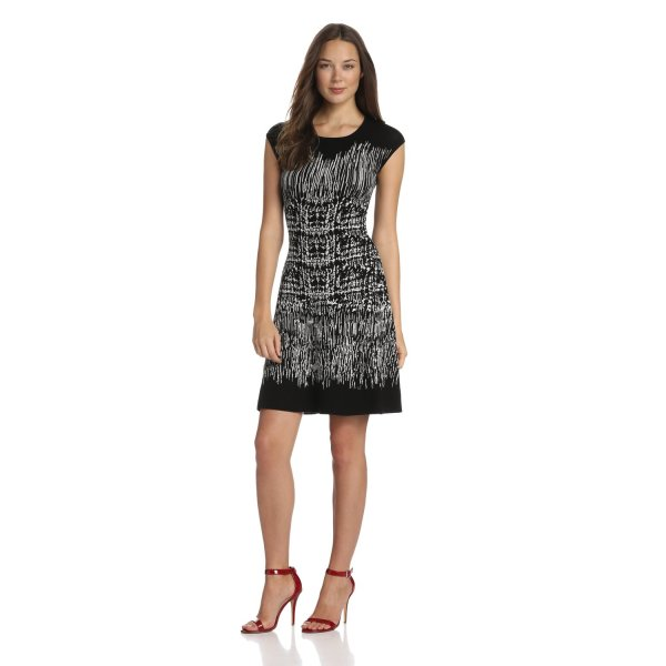 BCBGMAXAZRIA Women's Melissa Painted Houndstooth A-Line Dress, Black Combo, Small