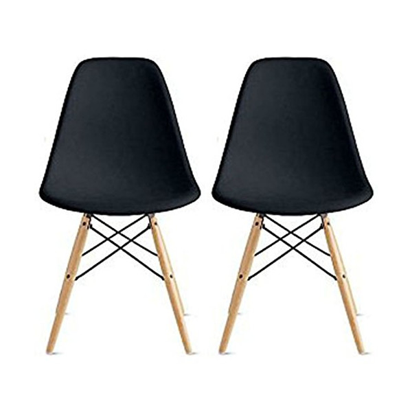 2xhome Eames Style Side Chair Natural Wood Legs Eiffel Dining Room Chair, Set of Two
