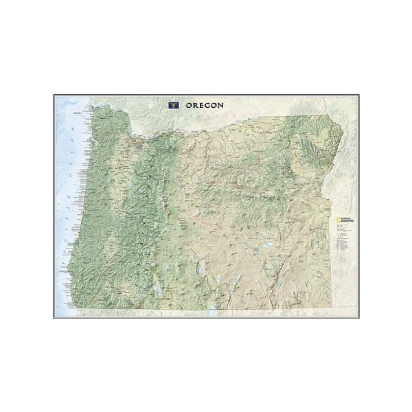 Oregon State Wall Map Material: Paper