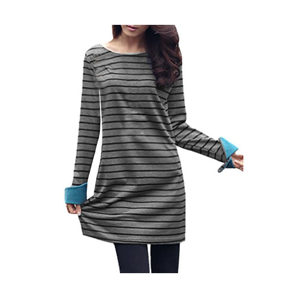 Allegra K 2014 Winter Women Tee Dress Striped T Shirt Dress Short Dresses