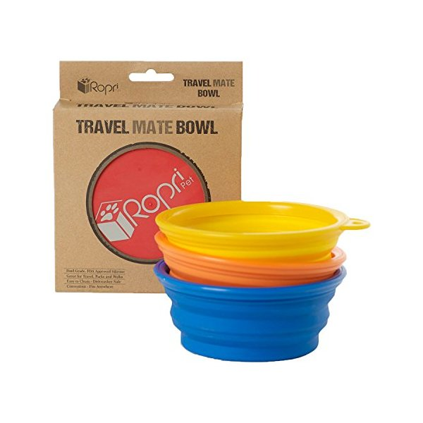 Travel Dog Bowl by RopriPet Collapsible Food & Water Bowl for Your Pet. *Includes Bonus 3rd Bowl*. Made from Food Safe, FDA Approved Silicone. Sturdy Construction, Fits Anywhere to Take Everywhere.