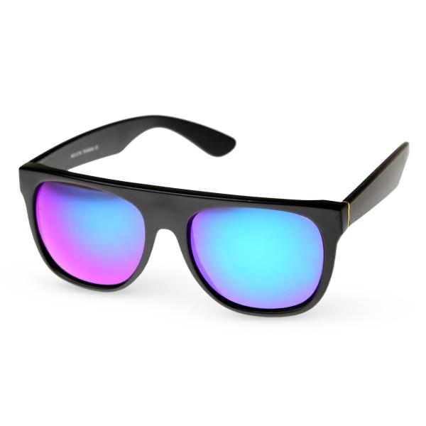 Intense Bright Revo Mirror Flat Top Sunglasses, Midnight