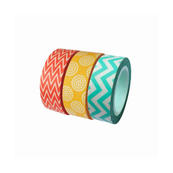 Dress My Cupcake DMC29213 Washi Decorative Tape for Gifts and Favors, Summer Collection, Set of 3
