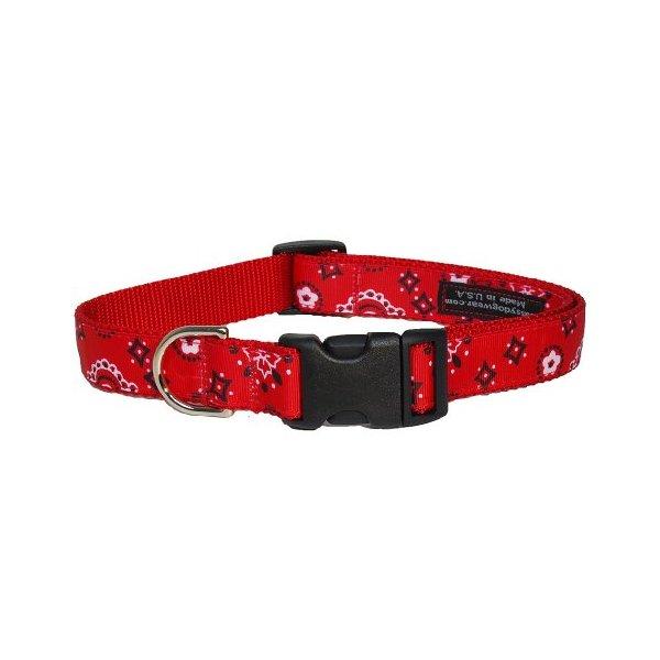 Sassy Dog Wear 10-14-Inch Red Bandana Dog Collar, Small