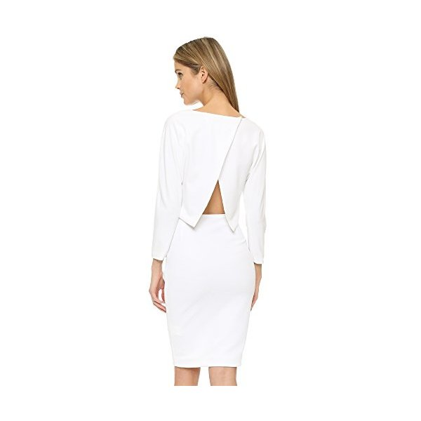 ST Olcay Gulsen Women's Batwing Open Back Dress, White, Medium