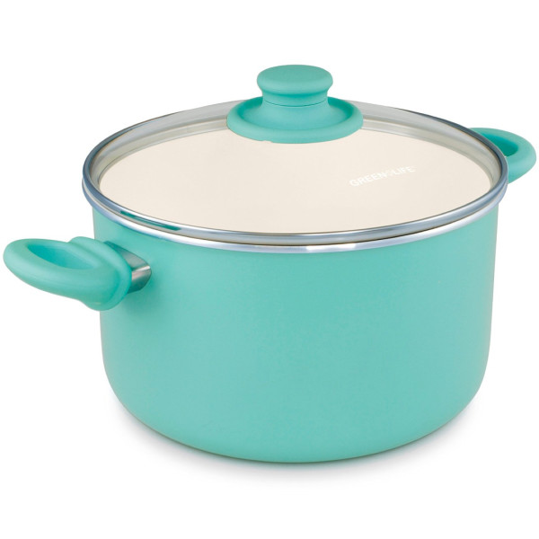 GreenLife 14 Piece Nonstick Ceramic Cookware Set, Turquoise