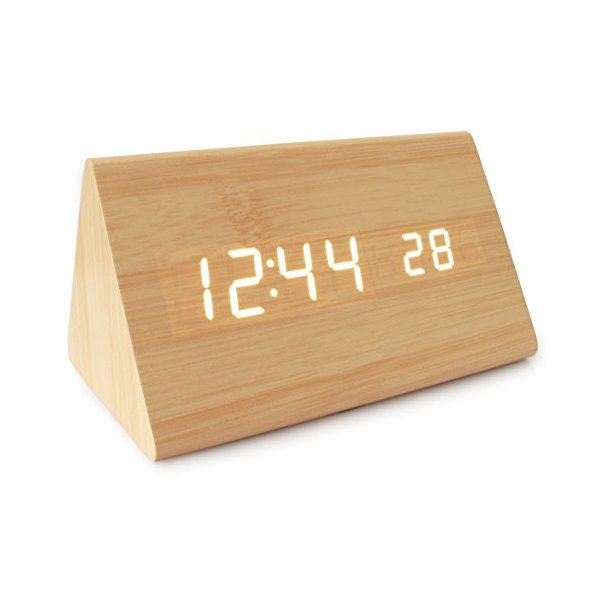 JCC Mini Triangle LED Wooden Thermometer Digital Alarm Clock, Bamboo-White