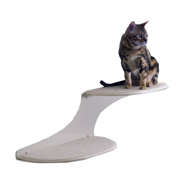 The Refined Feline Cat Cloud Cat Shelves in Off-White, Right Facing
