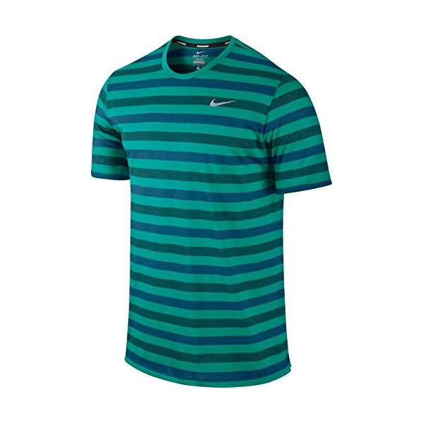 NIKE Men's Dri-FIT Touch Tailwind Short Sleeve Striped Running Shirt (xx-large, green striped)