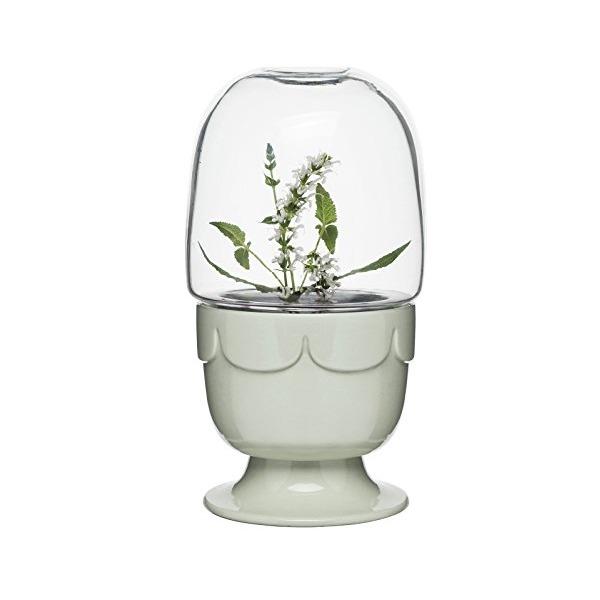 Sagaform 5017188 Planter on Stand with Glass Dome, Sage green