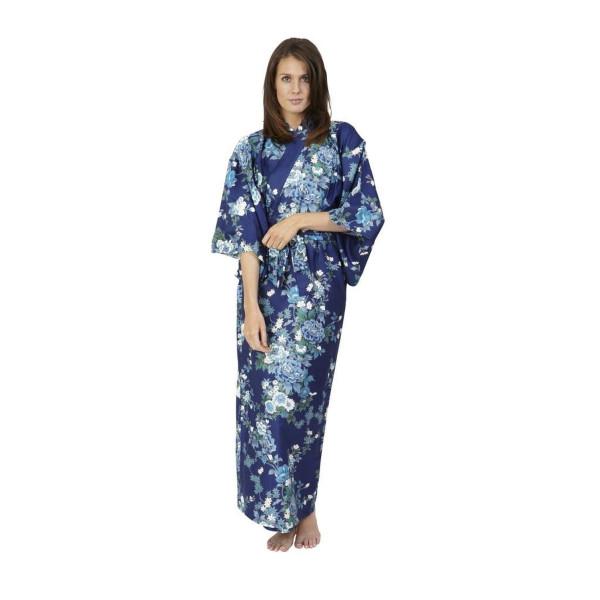 Beautiful Robes Women's Peony & Blossom Cotton Kimono Navy Blue Long